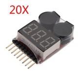 20 x 2 in 1 Lipo Battery Low Voltage Tester 1S-8S Buzzer Alarm