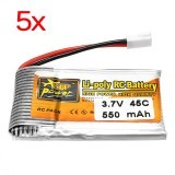5Pcs ZOP Power 3.7V 550mAh 45C 1S Lipo Battery White Plug
