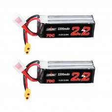 2Pcs URUAV 14.8V 2200mAh 70C 4S Lipo Battery XT60 Plug for Eachine Fury Wing Airplane Feilun FT011