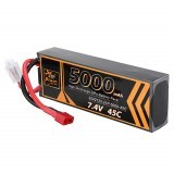 ZOP Power 7.4V 5000mAh 45C 2S Lipo Battery T Plug for RC Car