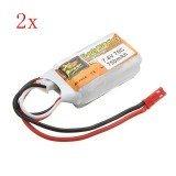 2PCS ZOP Power 7.4V 750mAh 2S 70C Lipo Battery JST Plug