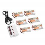 6PCS ZOP POWER 3.7V 600mAh 30C 1S Lipo Battery JST Plug With Charger