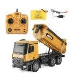 HuiNa1573 Remote Control Car 1/14 Trucks Metal Bulldozer Charging RTR Truck Construction Vehicle Kids Toys