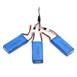 3 X 7.4V 1300mAh 25C Upgrade Battery & 1 to 3 Charging Cable for MJX X101 RC Drone