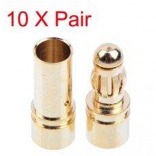 10x 3.5mm Gold Bullet Banana Connector Plug For ESC Battery Motor