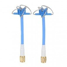 Aomway 5.8GHz FPV 4 Leaf Clover AV Transmission RHCP Antenna 1 Pair Blue Red
