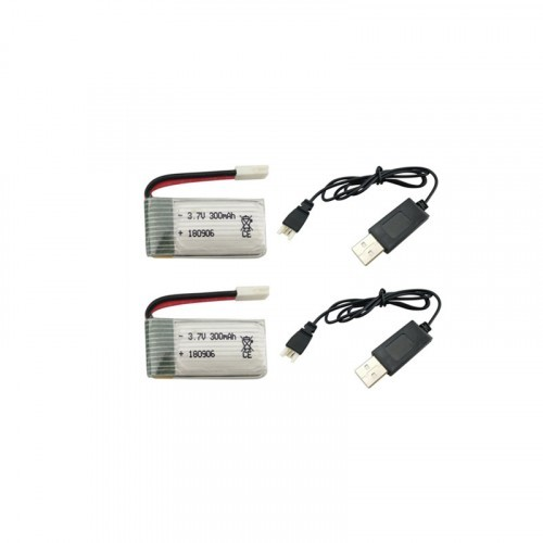 2pc 3 7v 300mah Lipo Battery With Usb Charging Cable For